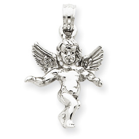 14K White Gold Angel Pendant