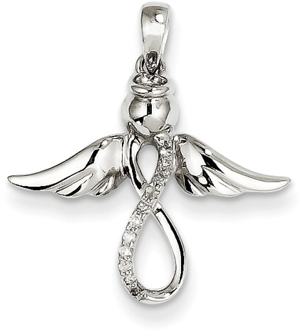 Diamond Angel Pendant, 14K White Gold