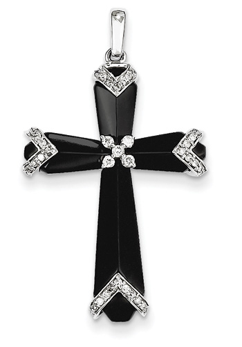 Onyx and Diamond Cross Necklace, 14K White Gold