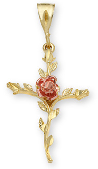 Rose of Sharon Cross Pendant in 14K Gold