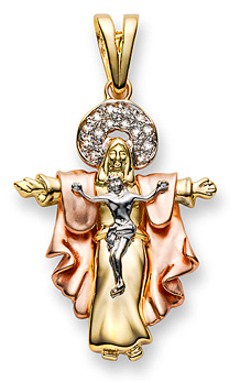 Diamond Jesus Crucifixion and Resurrection Pendant in 14K Tri-Color Gold
