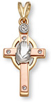 14K Gold Tri-Color Cross with Praying Hands