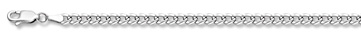 14K White Gold 3mm Curb Chain