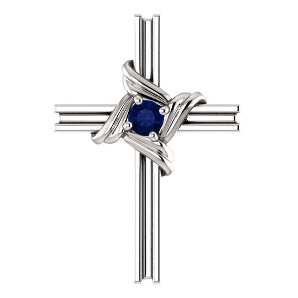 Small 14K White Gold Sapphire Cross Necklace w/ Hidden Bale