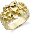 14K Solid Gold Men's Nugget Ring