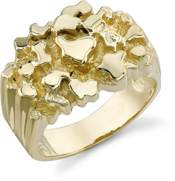14K Gold Mens Nugget Ring (Apples of Gold)