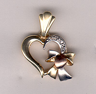 Buy 14K Gold Tri-Color Heart Pendant with CZ Stones