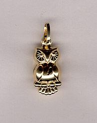 14K Gold Owl Pendant