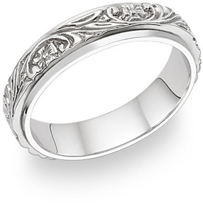 Jewelry-Floral Vineyard Wedding Band in 14K White Gold