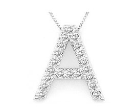 "Buy Diamond Initial ""A"" Pendant, 14K White Gold"