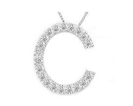 "Buy Diamond Initial ""C"" Pendant, 14K White Gold"