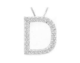 """Buy Diamond Initial """"D"""" Pendant, 14K White Gold"""