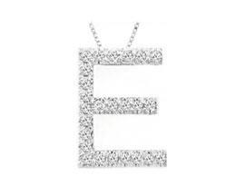"Buy Diamond Initial ""E"" Pendant, 14K White Gold"