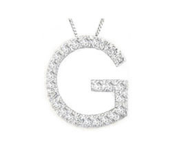 "Buy Diamond Initial ""G"" Pendant, 14K White Gold"