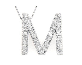 "Buy Diamond Initial ""M"" Pendant, 14K White Gold"