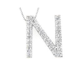 """Buy Diamond Initial """"N"""" Pendant, 14K White Gold"""