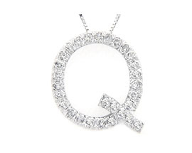 "Buy Diamond Initial ""Q"" Pendant, 14K White Gold"