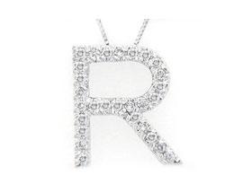 "Buy Diamond Initial ""R"" Pendant, 14K White Gold"