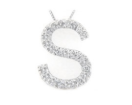 "Buy Diamond Initial ""S"" Pendant, 14K White Gold"