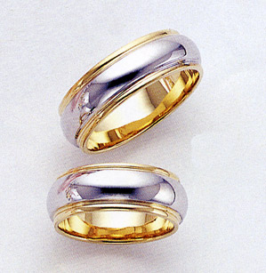 14K Two-Tone Gold Wedding Band - from 4mm - 8.5mm wide