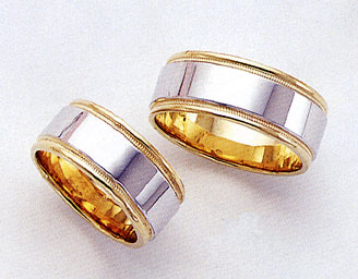 Two-Tone Design Wedding Bands - 8.5mm