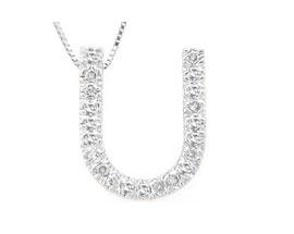 "Buy Diamond Initial ""U"" Pendant, 14K White Gold"