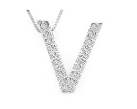 "Buy Diamond Initial ""V"" Pendant, 14K White Gold"