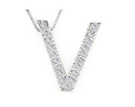 """Buy Diamond Initial """"V"""" Pendant, 14K White Gold"""