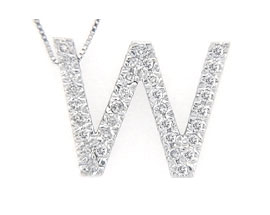 "Buy Diamond Initial ""W"" Pendant, 14K White Gold"