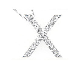 "Buy Diamond Initial ""X"" Pendant, 14K White Gold"