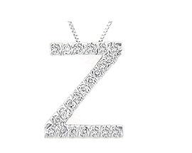 """Buy Diamond Initial """"Z"""" Pendant, 14K White Gold"""