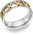 Personalized Roman Numeral Wedding Band Ring, 14K Two-Tone Gold