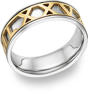 roman numerals personalized wedding band ring