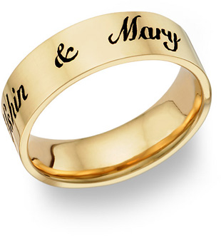 Antiqued 14K Gold Personalized Wedding Band Ring with Script Font