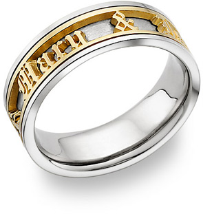 Personalized Old English Wedding Band Ring - 14K Two-Tone Gold