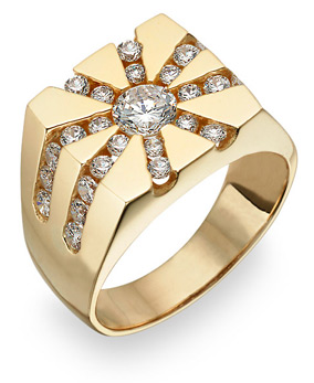 14K Gold Men's Channel Set CZ Ring