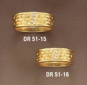 14K Solid Gold Diamond Wedding Bands (Wedding Rings, Apples of Gold)