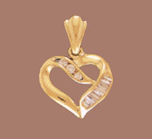 14K Gold Heart Pendant with Channel Set CZs (Pendants, Apples of Gold)