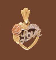 Buy 14K Gold Tri-Color Love Heart Pendant