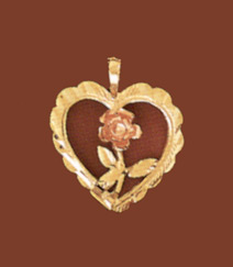 14K Gold Heart Pendant with Rose (Pendants, Apples of Gold)