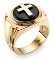 14K Gold Black Onyx Cross Ring for Men