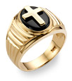 14K Gold Men's Onyx Cross Ring
