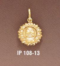 14K Gold Sun Pendant