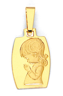 14K Gold Girl Child Pendant