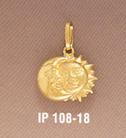 14K Solid Gold Moon and Sun Pendant