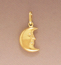 14K Gold Crescent Moon Pendant