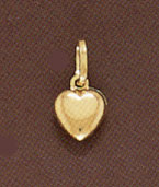 14K Gold Puffy Heart Pendant - Small