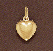 14K Gold Puffy Heart Pendant - Large