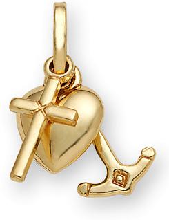 14K Gold Cross Anchor & Heart Triple Pendant