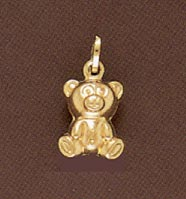 14K Gold Teddy Bear Pendant - Medium